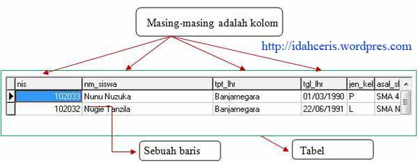 Gambaran tabel, baris dan kolom