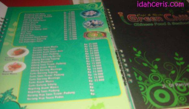Daftar Menu Makan dan Minum