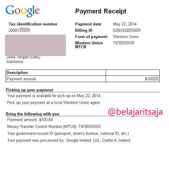 Print out Pembayaran Google Adsense