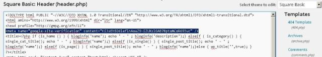 Memasang Meta Tag Google Webmaster Tools